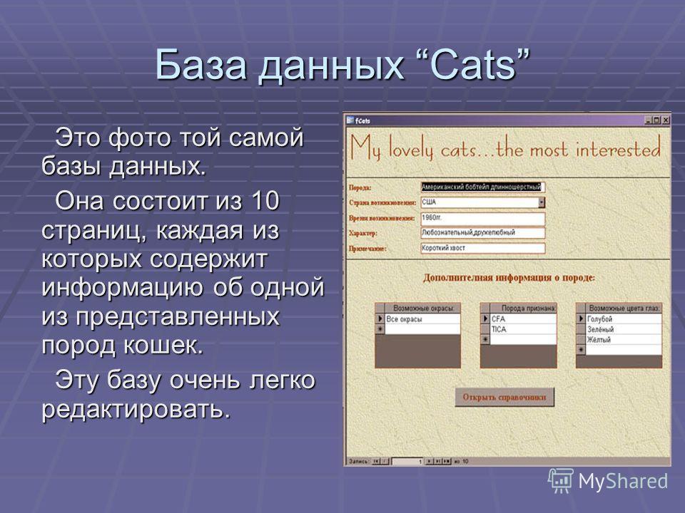 База данных Cats Это фото той самой базы данных. Она состоит из 10 страниц, каждая из которых содержит информацию об одной из представленных пород кошек. Эту базу очень легко редактировать.