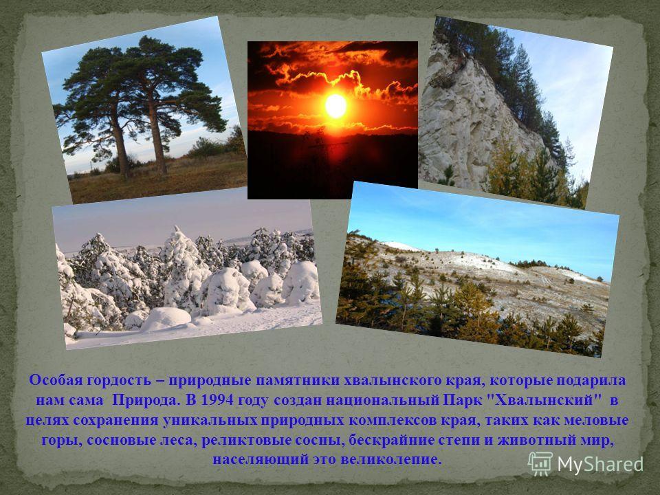 Особая гордость – природные памятники хвалынского края, которые подарила нам сама Природа. В 1994 году создан национальный Парк