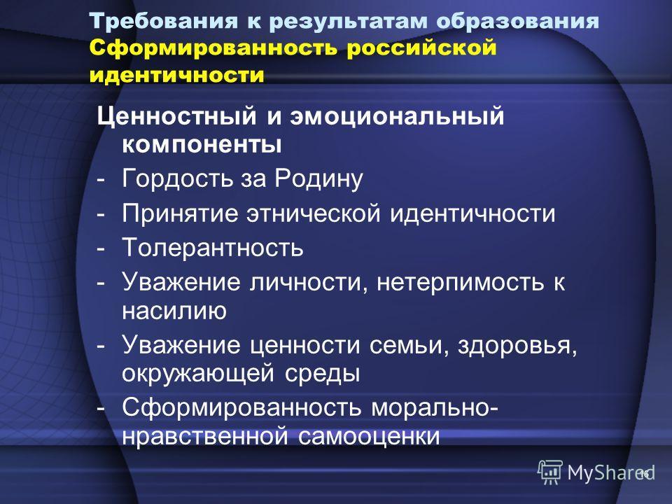 16 Требования к результатам образования Сформированность российской идентичности Ценностный и эмоциональный компоненты -Гордость за Родину -Принятие этнической идентичности -Толерантность -Уважение личности, нетерпимость к насилию -Уважение ценности