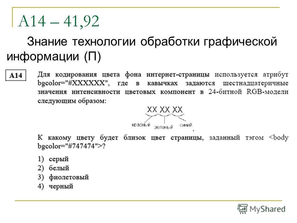 А14 – 41,92 Знание технологии обработки графической информации (П)