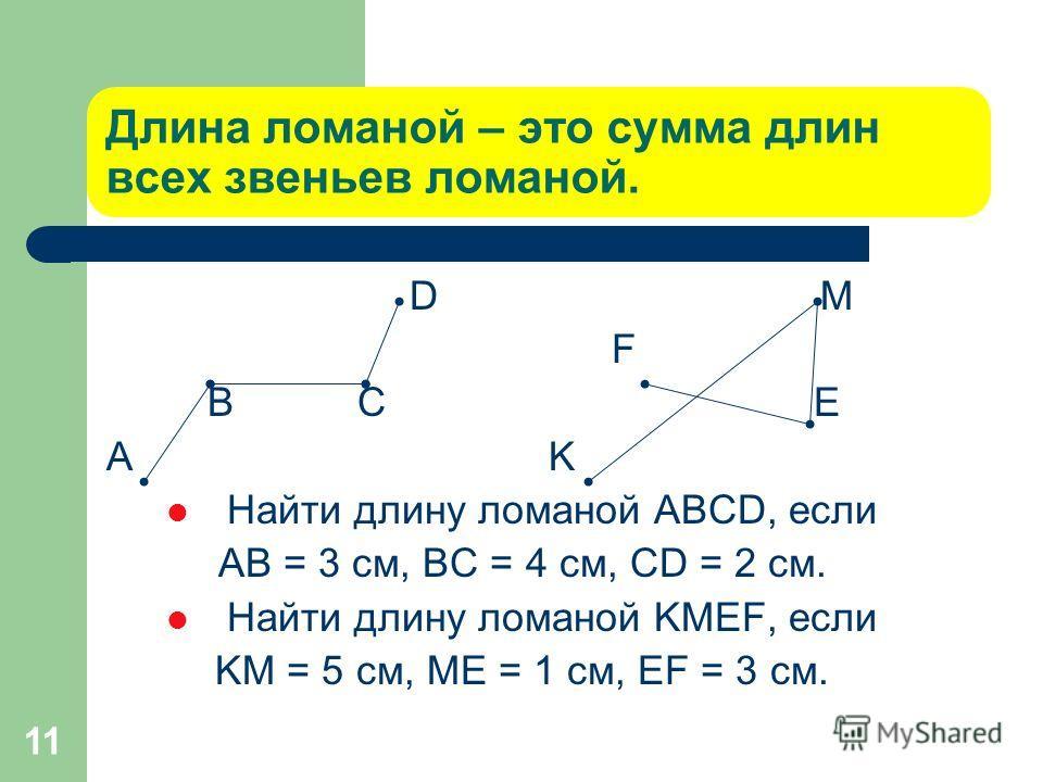 11 Длина ломаной – это сумма длин всех звеньев ломаной. D М F B C Е A K Найти длину ломаной ABCD, если АВ = 3 см, ВС = 4 см, CD = 2 см. Найти длину ломаной KМЕF, если KМ = 5 см, МЕ = 1 см, ЕF = 3 см.