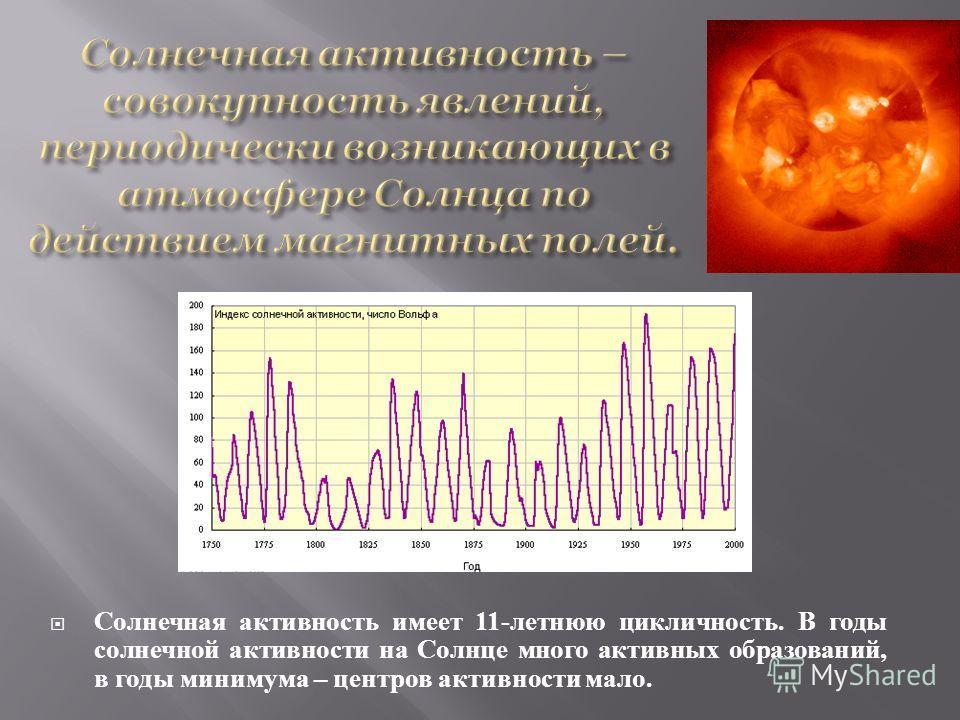 Солнечная активность имеет 11- летнюю цикличность. В годы солнечной активности на Солнце много активных образований, в годы минимума – центров активности мало.