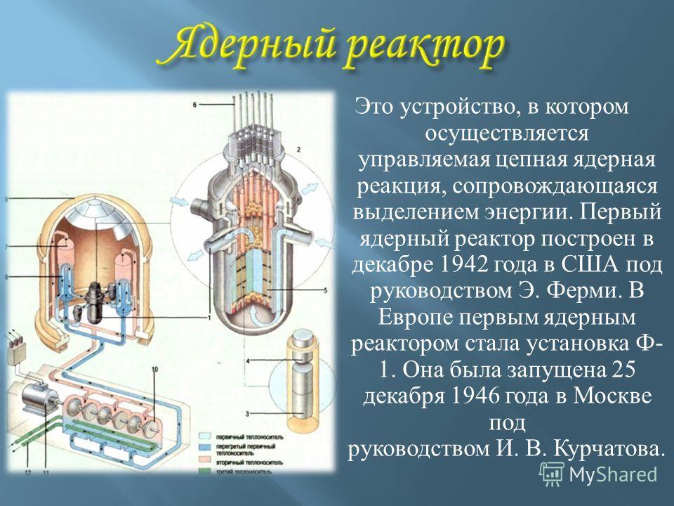Это устройство, в котором осуществляется управляемая цепная ядерная реакция, сопровождающаяся выделением энергии. Первый ядерный реактор построен в декабре 1942 года в США под руководством Э. Ферми. В Европе первым ядерным реактором стала установка Ф
