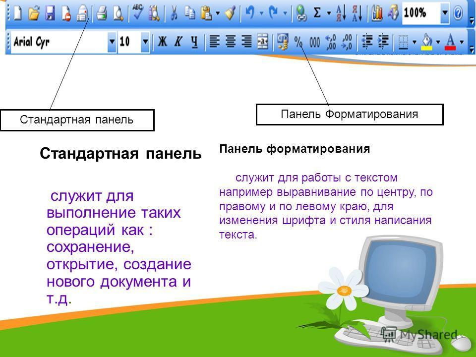 Стандартная панель служит для выполнение таких операций как : сохранение, открытие, создание нового документа и т.д. Стандартная панель Панель Форматирования Панель форматирования служит для работы с текстом например выравнивание по центру, по правом