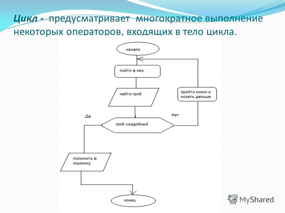 Цикл - предусматривает многократное выполнение некоторых операторов, входящих в тело цикла.