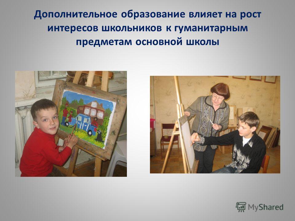 Дополнительное образование влияет на рост интересов школьников к гуманитарным предметам основной школы