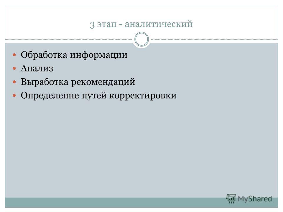 3 этап - аналитический Обработка информации Анализ Выработка рекомендаций Определение путей корректировки
