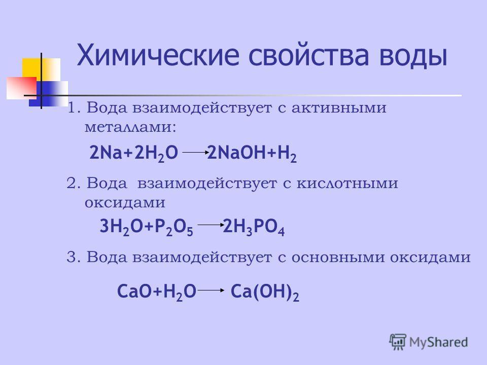 Химические свойства воды 1. Вода взаимодействует с активными металлами: 2Na+2H 2 O 2NaOH+H 2 2. Вода взаимодействует с кислотными оксидами 3H 2 O+P 2 O 5 2H 3 PO 4 3. Вода взаимодействует с основными оксидами CaO+H 2 O Ca(OH) 2