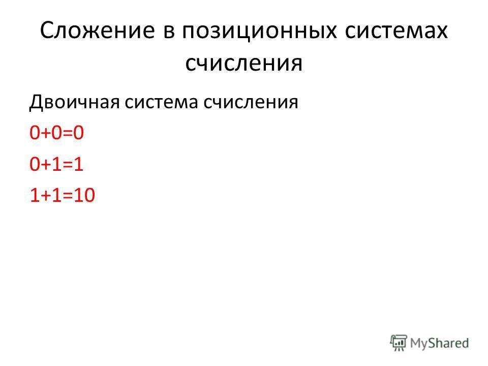 Сложение в позиционных системах счисления Двоичная система счисления 0+0=0 0+1=1 1+1=10