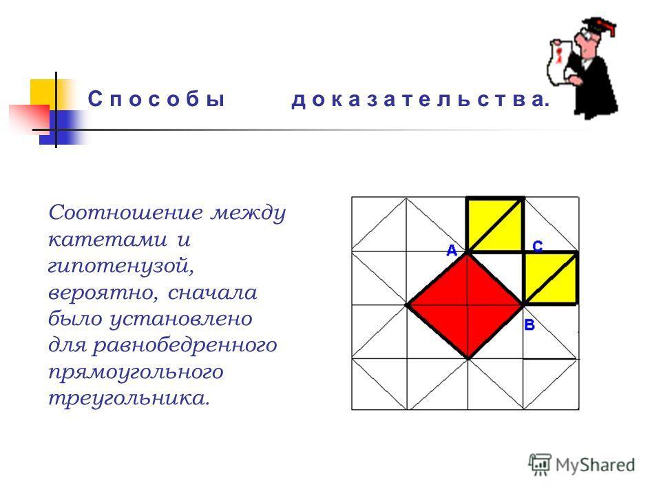 С п о с о б ы д о к а з а т е л ь с т в а. Соотношение между катетами и гипотенузой, вероятно, сначала было установлено для равнобедренного прямоугольного треугольника.