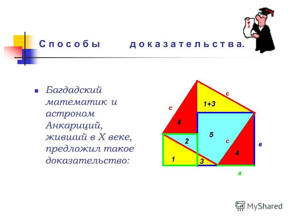 Багдадский математик и астроном Анкариций, живший в Х веке, предложил такое доказательство: С п о с о б ы д о к а з а т е л ь с т в а.