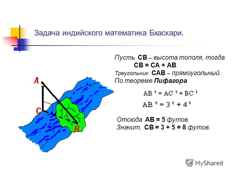 Задача индийского математика Бхаскари. Пусть СВ – высота тополя, тогда СВ = СА + АВ. Треугольник САВ – прямоугольный. По теореме Пифагора Отсюда АВ = 5 футов. Значит, СВ = 3 + 5 = 8 футов.