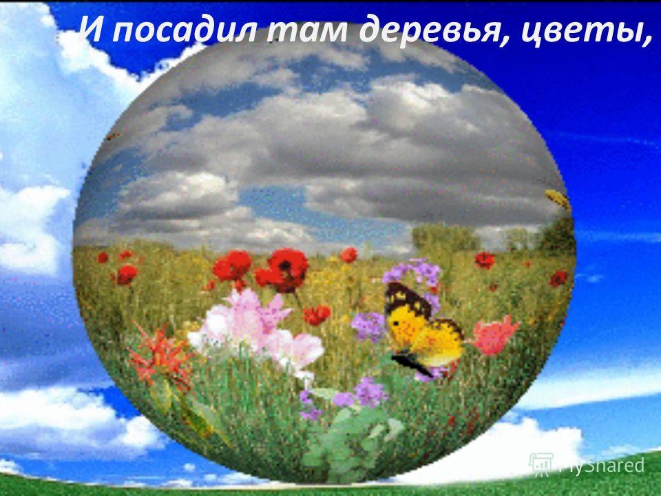 И посадил там деревья, цветы,