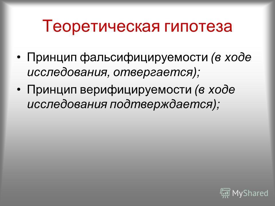 Теоретическая гипотеза Принцип фальсифицируемости (в ходе исследования, отвергается); Принцип верифицируемости (в ходе исследования подтверждается);