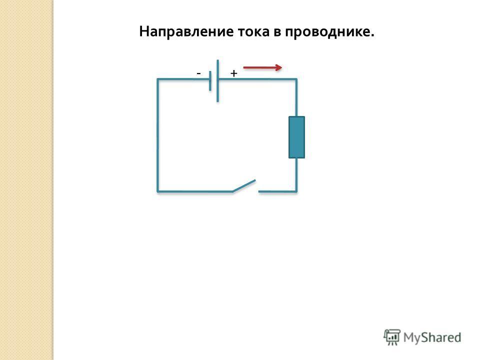 Направление тока в проводнике. +-