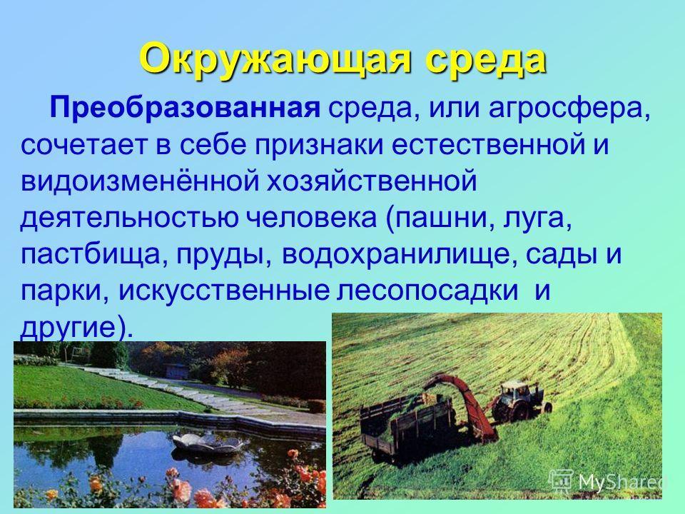 Окружающая среда Преобразованная среда, или агросфера, сочетает в себе признаки естественной и видоизменённой хозяйственной деятельностью человека (пашни, луга, пастбища, пруды, водохранилище, сады и парки, искусственные лесопосадки и другие).