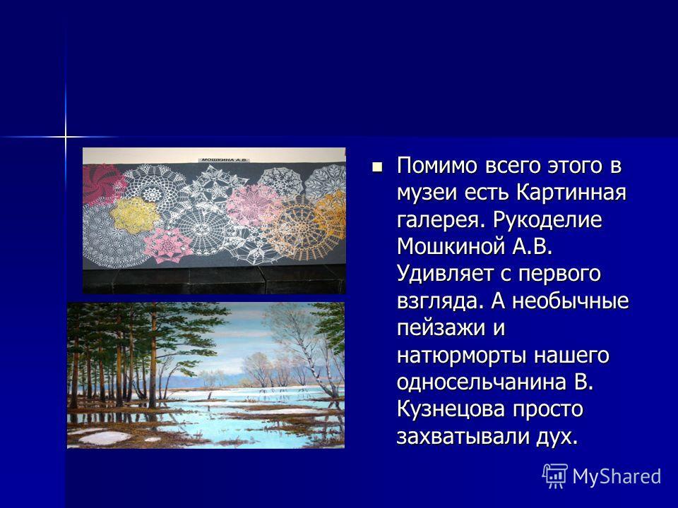 Помимо всего этого в музеи есть Картинная галерея. Рукоделие Мошкиной А.В. Удивляет с первого взгляда. А необычные пейзажи и натюрморты нашего односельчанина В. Кузнецова просто захватывали дух.