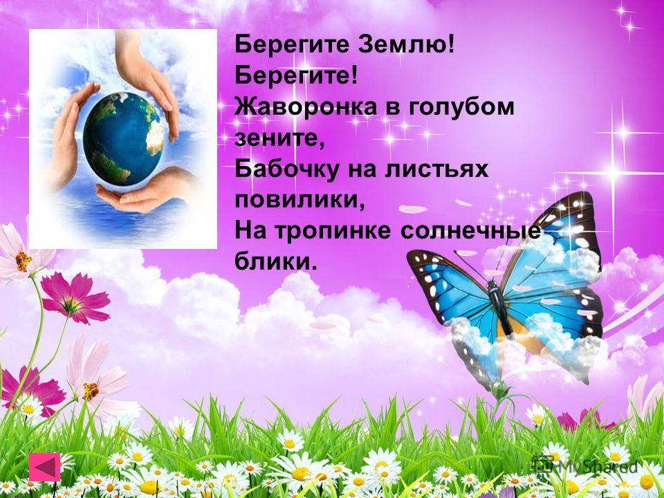 Берегите Землю! Берегите! Жаворонка в голубом зените, Бабочку на листьях повилики, На тропинке солнечные блики.