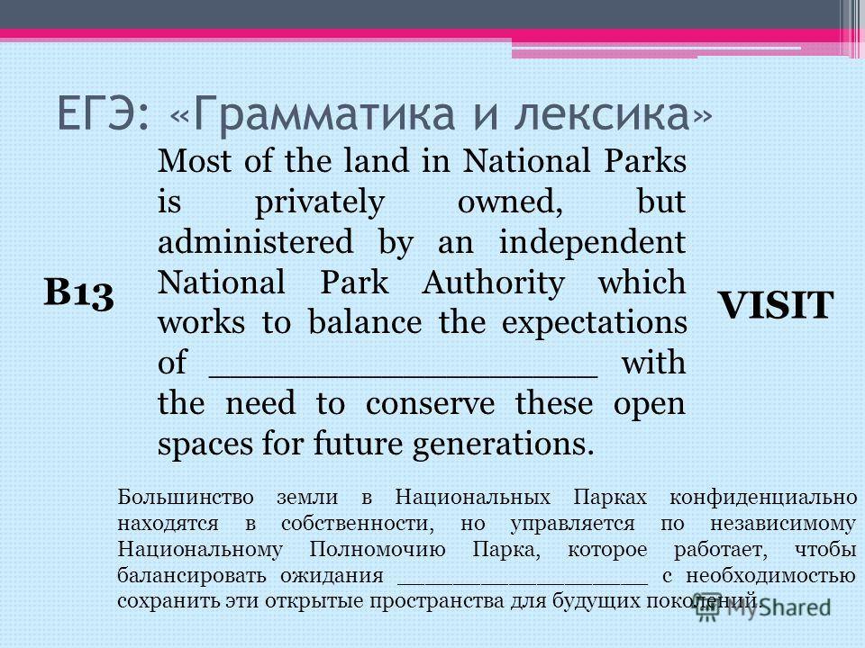 Most of the land in National Parks is privately owned, but administered by an independent National Park Authority which works to balance the expectations of __________________ with the need to conserve these open spaces for future generations. ЕГЭ: «