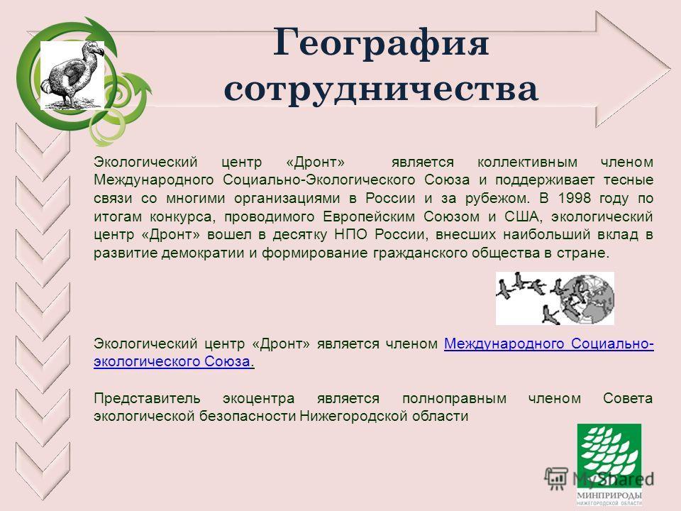 География сотрудничества Экологический центр «Дронт» является коллективным членом Международного Социально-Экологического Союза и поддерживает тесные связи со многими организациями в России и за рубежом. В 1998 году по итогам конкурса, проводимого Ев