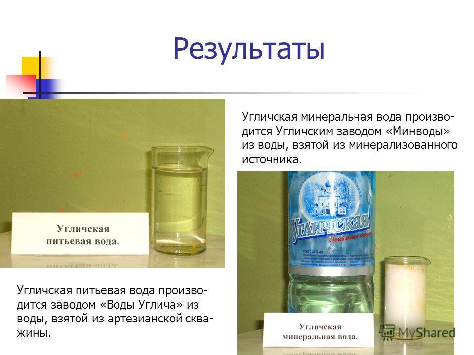 Результаты Угличская питьевая вода произво- дится заводом «Воды Углича» из воды, взятой из артезианской сква- жины. Угличская минеральная вода произво- дится Угличским заводом «Минводы» из воды, взятой из минерализованного источника.