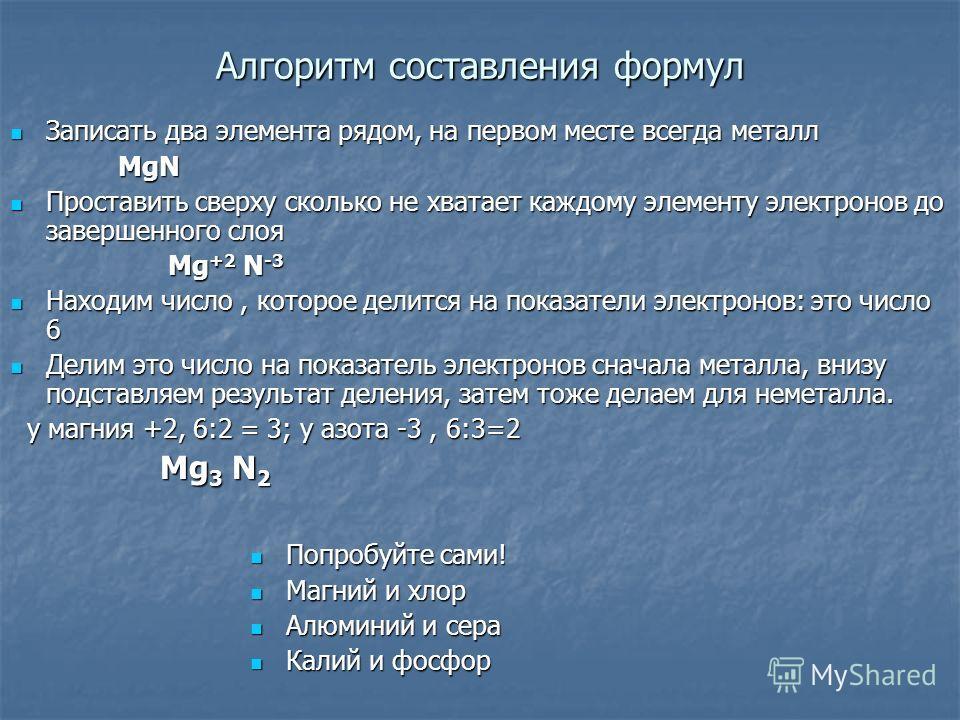 Алгоритм составления формул Записать два элемента рядом, на первом месте всегда металл MgN Проставить сверху сколько не хватает каждому элементу электронов до завершенного слоя Mg+2 N-3 Находим число, которое делится на показатели электронов: это чис