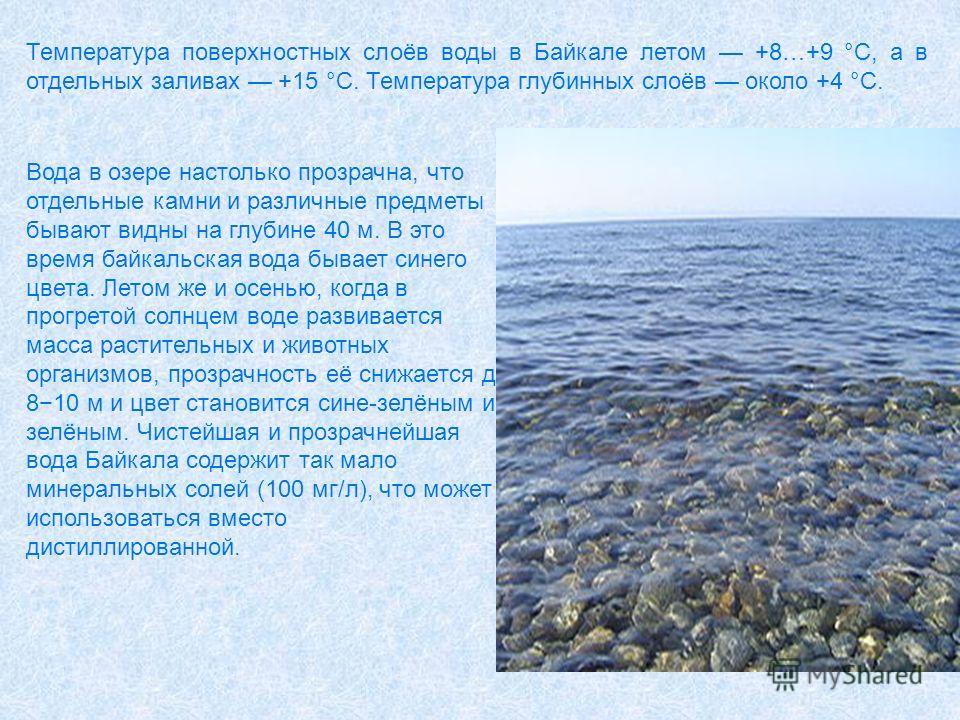 Температура поверхностных слоёв воды в Байкале летом +8…+9 °С, а в отдельных заливах +15 °C. Температура глубинных слоёв около +4 °C. Вода в озере настолько прозрачна, что отдельные камни и различные предметы бывают видны на глубине 40 м. В это время