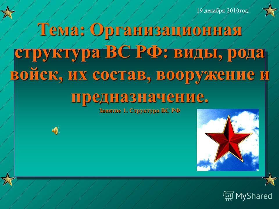 Тема: Организационная структура ВС РФ: виды, рода войск, их состав, вооружение и предназначение. Занятие 1. Структура ВС РФ 19 декабря 2010год.