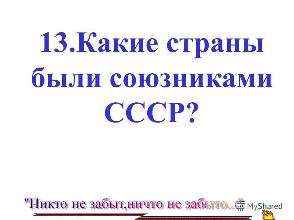 13.Какие страны были союзниками СССР?