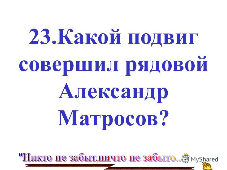 23.Какой подвиг совершил рядовой Александр Матросов?