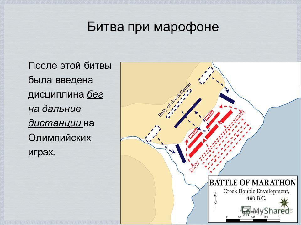Битва при марофоне После этой битвы была введена дисциплина бег на дальние дистанции на Олимпийских играх.