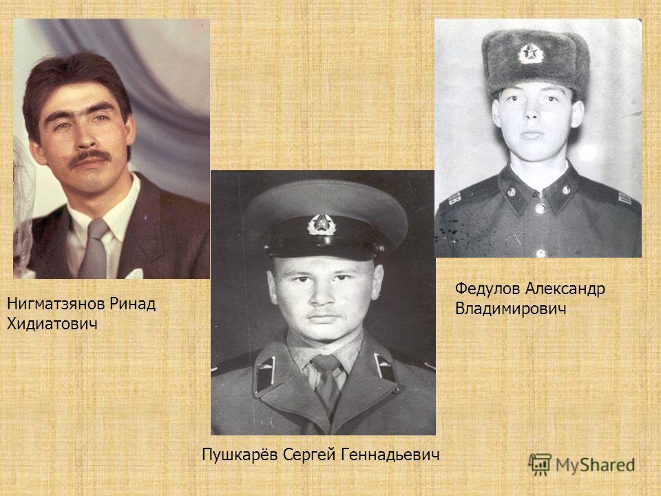 Нигматзянов Ринад Хидиатович Пушкарёв Сергей Геннадьевич Федулов Александр Владимирович