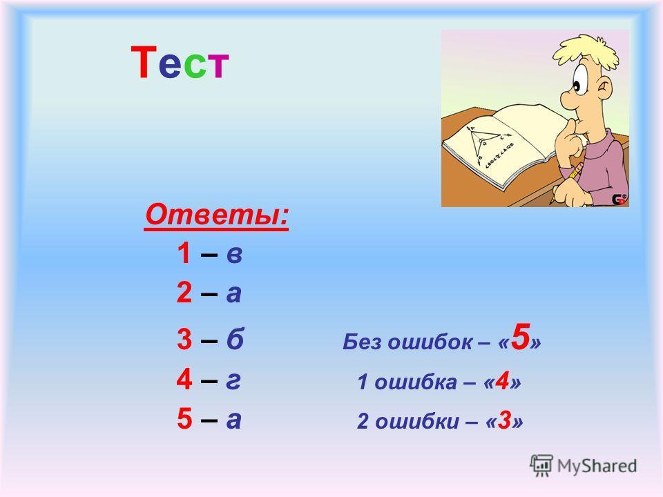 Тест Ответы: 1 – в 2 – а 3 – б Без ошибок – « 5 » 4 – г 1 ошибка – « 4 » 5 – а 2 ошибки – « 3 »