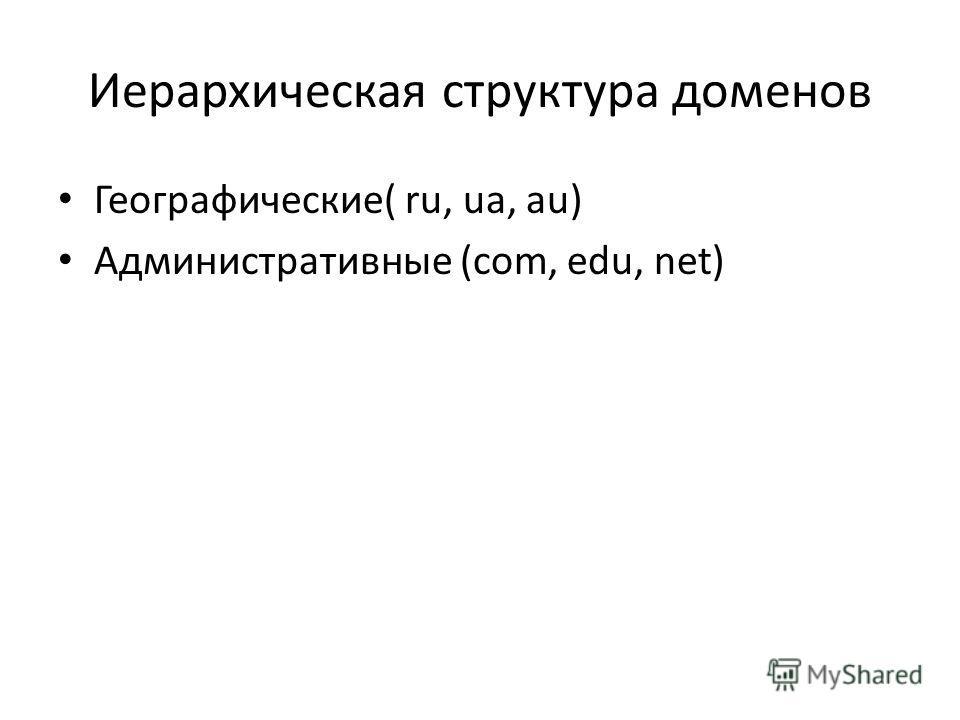 Иерархическая структура доменов Географические( ru, ua, аu) Административные (com, edu, net)