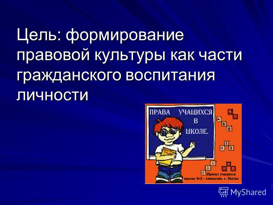 Цель: формирование правовой культуры как части гражданского воспитания личности