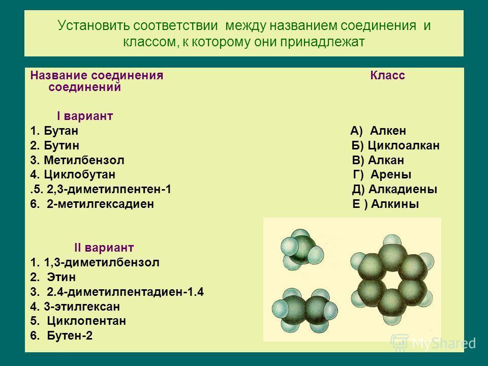 Установить соответствии между названием соединения и классом, к которому они принадлежат Название соединения Класс соединений I вариант 1. Бутан А) Алкен 2. Бутин Б) Циклоалкан 3. Метилбензол В) Алкан 4. Циклобутан Г) Арены.5. 2,3-диметилпентен-1 Д)