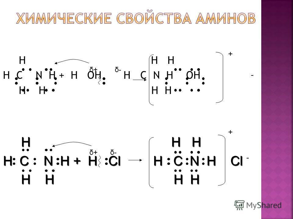 H H H H C N H + H OH H C N H OH H H H H δ+δ+δ-δ- - + H H H H H H H C N H + H Cl H C N H Cl H H H H H H H H δ-δ- + - δ+δ+
