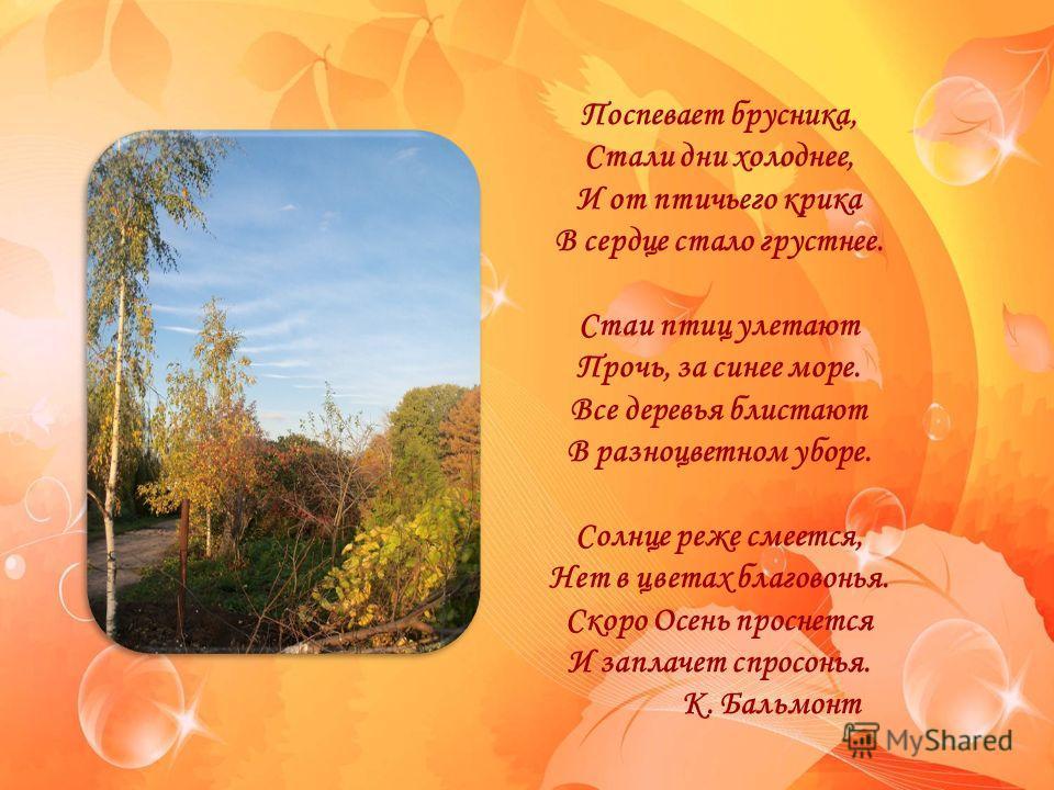 FokinaLida.75@mail.ru Поспевает брусника, Стали дни холоднее, И от птичьего крика В сердце стало грустнее. Стаи птиц улетают Прочь, за синее море. Все деревья блистают В разноцветном уборе. Солнце реже смеется, Нет в цветах благовонья. Скоро Осень пр