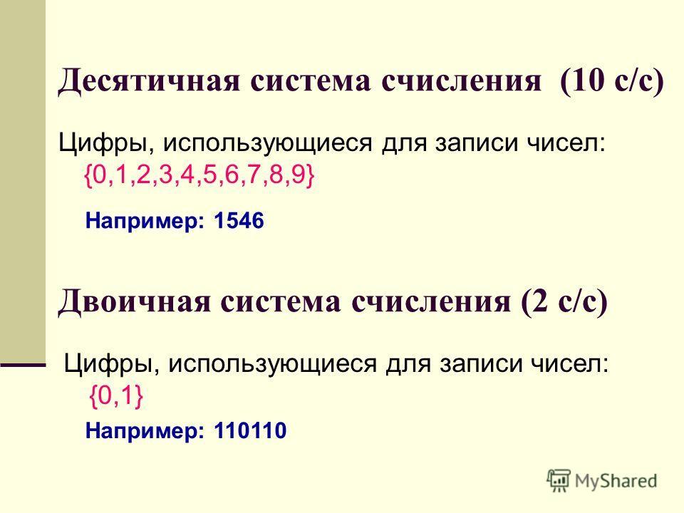 Десятичная система счисления (10 с/с) Цифры, использующиеся для записи чисел: {0,1,2,3,4,5,6,7,8,9} Двоичная система счисления (2 с/с) Цифры, использующиеся для записи чисел: {0,1} Например: 1546 Например: 110110