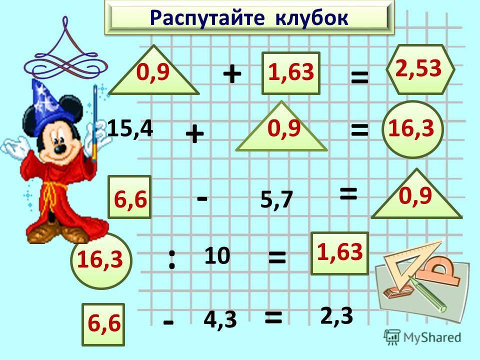 Распутайте клубок + = 15,4 + = - 5,7 = : 10 = - 4,3 = 2,3 6,6 0,9 16,3 1,63 2,53