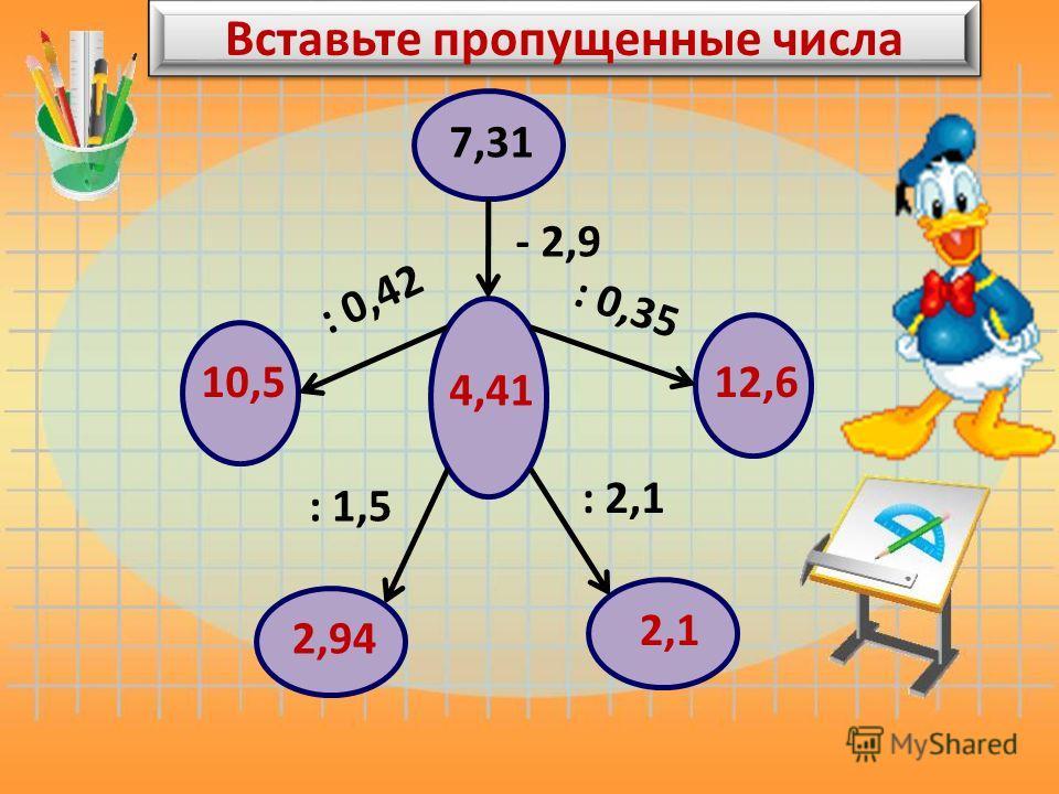 Вставьте пропущенные числа 7,31 - 2,9 4,41 : 0,42 10,5 : 0,35 12,6 : 1,5 : 2,1 2,94 2,1