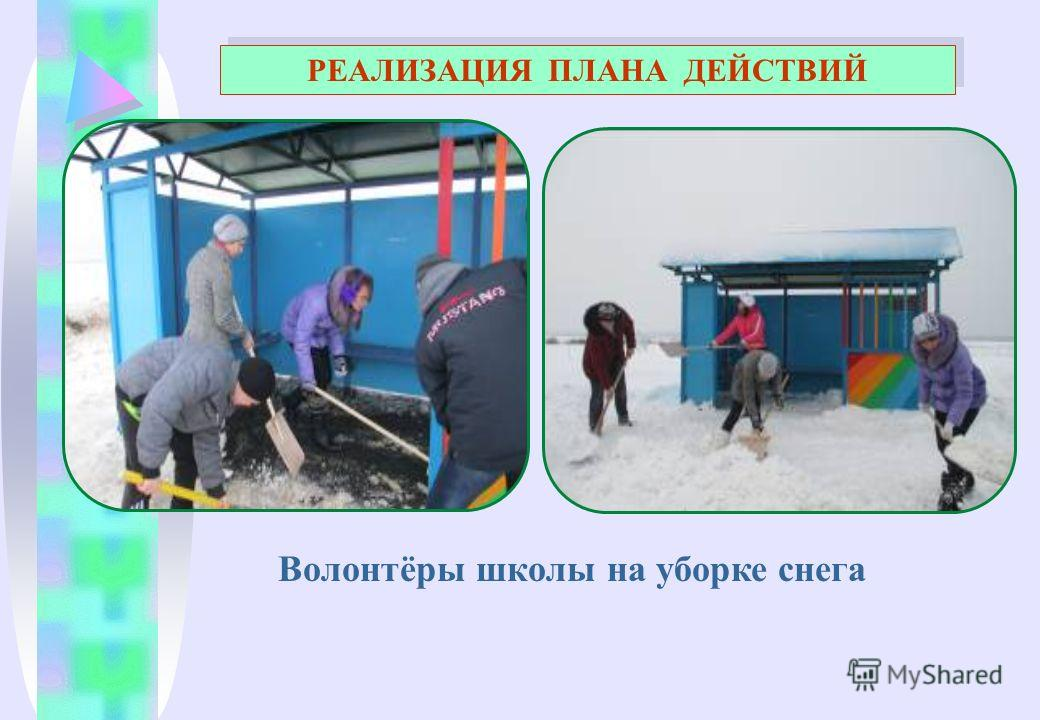 Волонтёры школы на уборке снега РЕАЛИЗАЦИЯ ПЛАНА ДЕЙСТВИЙ