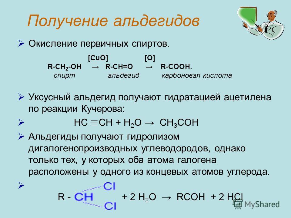 Получение альдегидов Окисление первичных спиртов. Уксусный альдегид получают гидратацией ацетилена по реакции Кучерова: HC CH + H 2 O CH 3 COH Альдегиды получают гидролизом дигалогенопроизводных углеводородов, однако только тех, у которых оба атома г