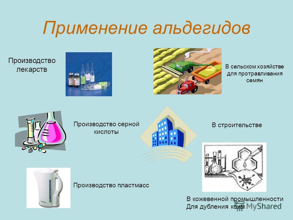 Применение альдегидов Производство лекарств В сельском хозяйстве для протравливания семян Производство пластмасс В кожевенной промышленности Для дубления кожи В строительстве Производство серной кислоты