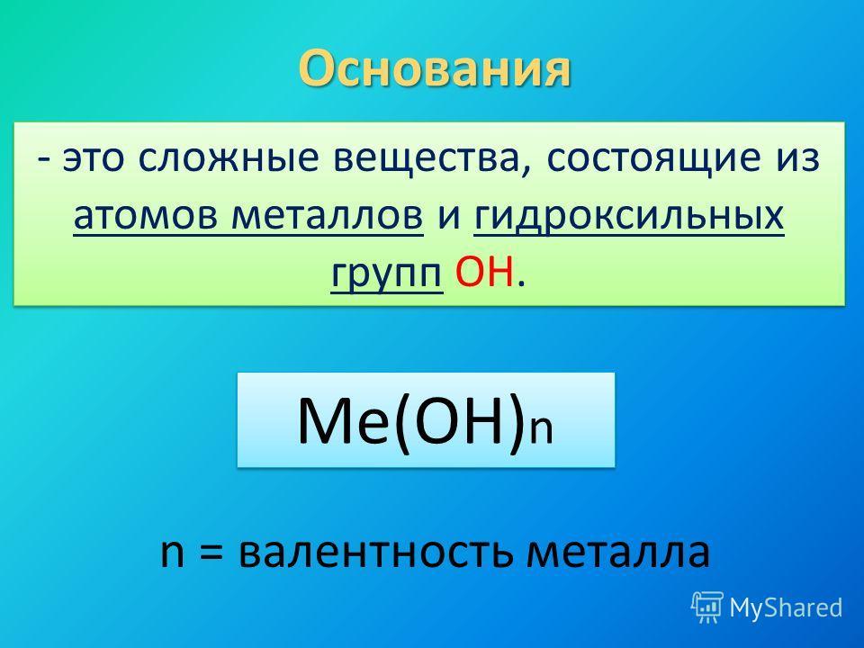 Основания - это сложные вещества, состоящие из атомов металлов и гидроксильных групп ОН. Me(OH) n n = валентность металла