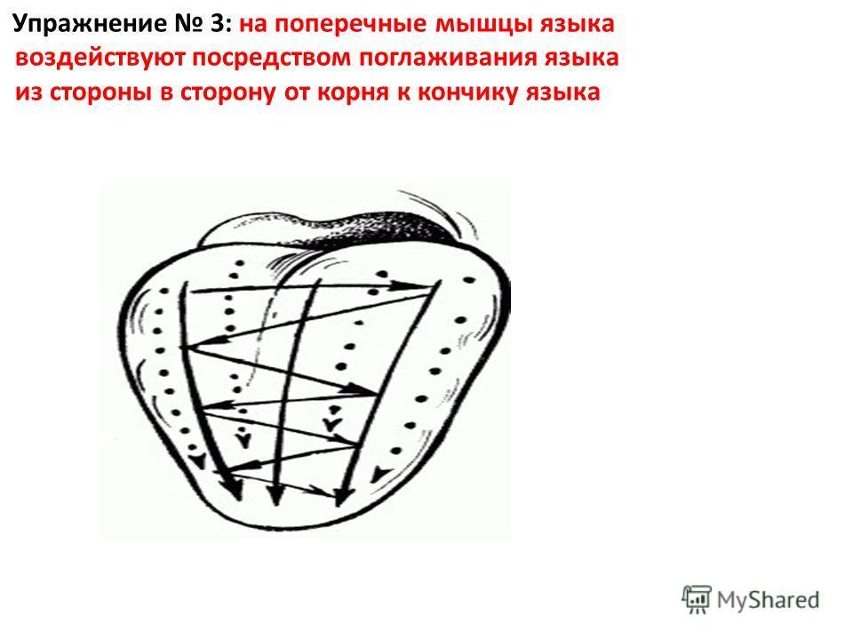 Упражнение 3: на поперечные мышцы языка воздействуют посредством поглаживания языка из стороны в сторону от корня к кончику языка