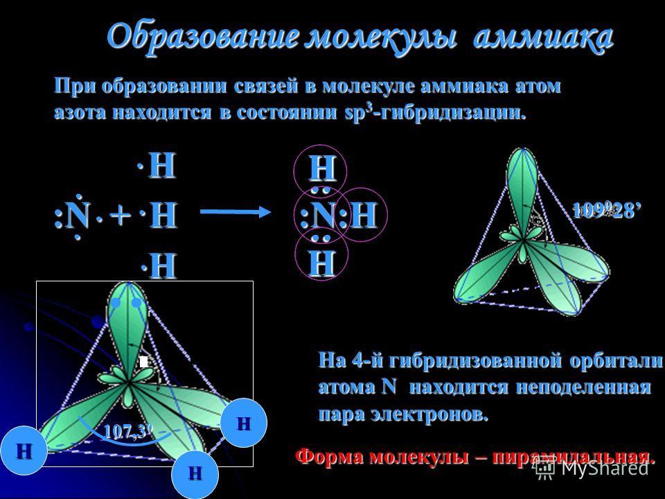 Образование молекулы аммиака При образовании связей в молекуле аммиака атом азота находится в состоянии sp 3 -гибридизации. 109 0 28 :N + H :N:Н Н Н Н : : Н Н Н Н 107,3 0 На 4-й гибридизованной орбитали атома N находится неподеленная пара электронов.