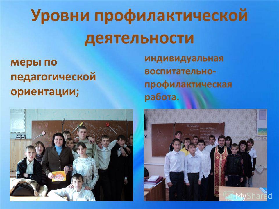 Уровни профилактической деятельности меры по педагогической ориентации; индивидуальная воспитательно- профилактическая работа.