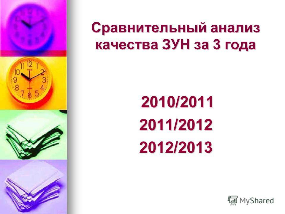 Сравнительный анализ качества ЗУН за 3 года 2010/2011 2010/20112011/20122012/2013