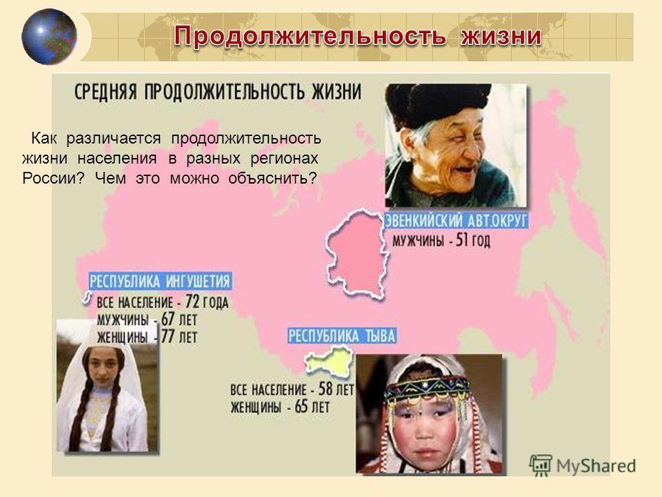Как различается продолжительность жизни населения в разных регионах России? Чем это можно объяснить?